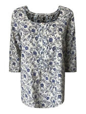 Ex Fat Face Ladies Blue & White Floral Casual Cotton Summer Top 6 - 16