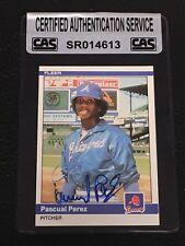 PASCUAL PEREZ 1984 FLEER SIGNED  AUTOGRAPHED CARD #188 BRAVES CAS AUTHENTIC