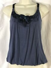 NWT 6 DEGREES S Slate Blue Soft Knit TANK TOP Cami Ribbon Beads Sequins Netting