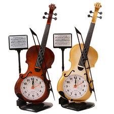 Portable Instrument Table Clock Violin Gift Home Decor Quartz Alarm Clock Mini