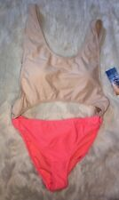 NWT RUE 21 One Piece Swim Suit Multicolor Nude Coral Open Sides Padded Sz Large