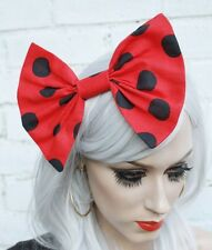 Minnie Red Spotty Hair Bow Vintage 50's Style Hair Clip Rockabilly Loli Goth