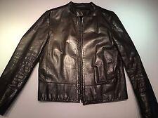 Gucci Men's Leather Biker Jacket Dark Chocolate
