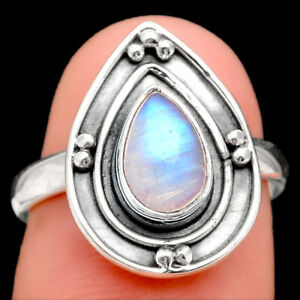 Rainbow Moonstone - India 925 Sterling Silver Ring s.7 Jewelry E052