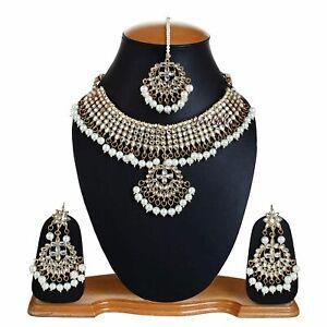 Pakistani White Gold Plated Tone Choker Kundan Bridal Necklace Earring Tikka Set