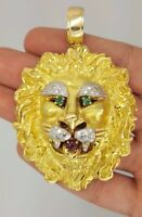 HAMMERMAN BROTHERS 18K YELLOW GOLD DIAMOND RUBY EMERALD LARGE LION HEAD PENDANT