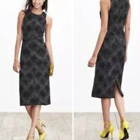 BANANA REPUBLIC Gray Textured Plaid Dress Flannel Work Career Womens Size 8