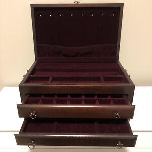 Reed & Barton Eureka Large Wooden Jewelry Storage Chest Box - 3 Levels