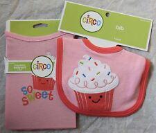 So Sweet Cupcake Pink Long-Sleeve Baby Girls Bodysuit 3-6 Months & Bib Circo New