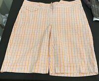 Izod XFG Women's Plaid Bermuda Shorts Sz 10 Stretch Light Pink/Orange/Tan/White