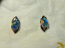 Opal Earrings 14ct White Gold . Triplet Opals 7x5 mm Oval. item 70400.