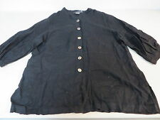 Match Point linen  bell sleeve loose fitting/tunic blazer blouse small black