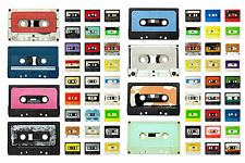 STUNNING RETRO CASSETTE TAPES CANVAS COLLAGE #5 QUALITY FRAMED BOX CANVAS A1