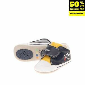 GEOX RESPIRA Leather Sneakers Size 19 UK 3 US 4 Breathable Antibacterial Logo