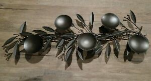 Crate & Barrel Black Metal Rustic Leaf Candelabra Centerpiece Holly & Berries