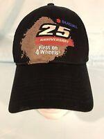 Mens NWOT SUZUKI 25th Anniversary First On 4 Wheels Adj Black Hat H128