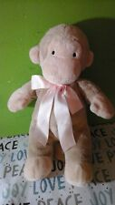 "North American Bear Co 11"" Monkey Plush tan cream baby lovey pink satin bow toy"