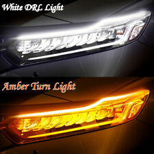 2X 60cm Slim LED Switchback Headlight Sequential DRL Light Strip White & Yellow