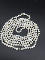 One Strand White Cultured Fresh water Pearl opera Long Necklaces nugget 45""
