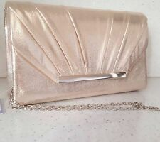 New Ladies Champagne shimmer sparkle Clutch Bag Handbag Bridal Evening