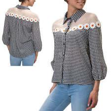 Hachiro Damen Langarmbluse Hemdbluse Karierte Bluse Tunika Shirt Casual SALE