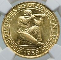 1939 B SWITZERLAND LUCERNE Large Antique Swiss Gold 100 Francs Coin NGC i87195