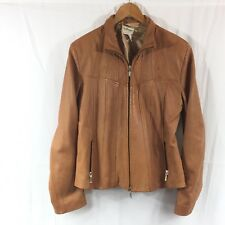 Norm Thompson Womens Large Italian Leather Coat Tan Vintage Size L Rare Find