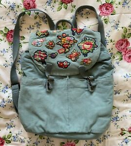CATH KIDSTON Vintage backpack Cotton Embroidered Logo Floral Lining