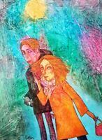 Neu! Original 65cm x 90cm acrylic paint on canvas Zusammen LARYSA  MENSHYKOVA
