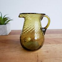 Art glass olive green swirl miniature pitcher, handblown applied handle vintage