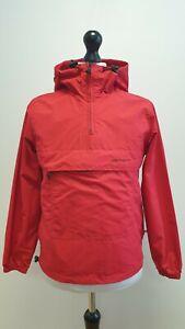 MENS CARHARTT RED LIGHTWEIGHT HOODED 1/4 ZIP CAGOULE JACKET UK XS EU 44