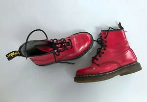 Women's DR MARTENS 1460 W Patent Leather High Boots Shoes Pink Size 38 / US 7