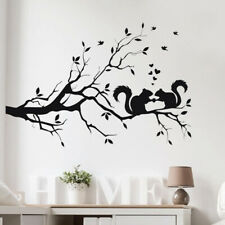 Squirrel On Long Tree Branch Wall Sticker 3D Art for Kid Room Home Decor Chic