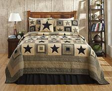 Black Star Patchwork Quilt Set Market Street Primitive Colonial Star King Size