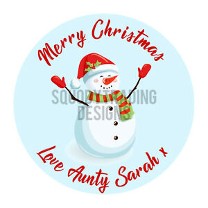 Snowman Printed Round Stickers - Custom Christmas labels -Xmas Personalised Name