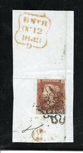 QV 1843 Penny Red on-piece with double London MX No 6 in cross