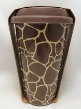 Aminal Print Travel Coffee Mug Cup 10 oz Ceramic Brown Silicone Lid Eco One New