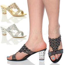 Sandali e scarpe pantofole, ciabatte con tacco medio (3,9-7 cm) sintetico per il mare da donna