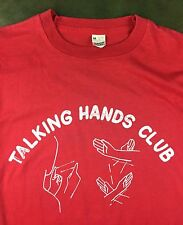 Vintage Mens M 80s Sign Language Talking Hands Club Obscure Graphic Red T-Shirt