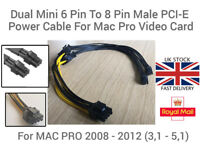 Dual Mini 6 Pin To 8 Pin Male PCI-E Power Cable For Mac Pro Video Card 18 AWG