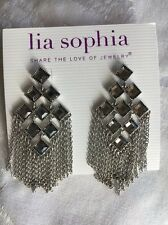 Lia Sophia Shooting Star Silver With Crystals Earrings 3 Inches Longh
