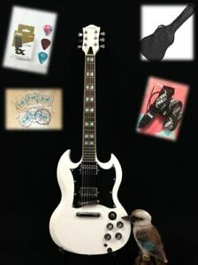 Haze 271WH  Solid Body Electric Guitar, H-H,White +Free Gig Bag, Extra Strings