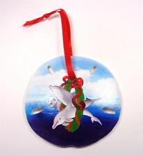 NAUTICAL TWO DOLPHINS IN A WREATH SAND DOLLAR CHRISTMAS TREE HOLIDAY ORNAMENT