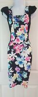 Womens Quiz Dress size 12 wiggle pencil black flower party occasion vgc