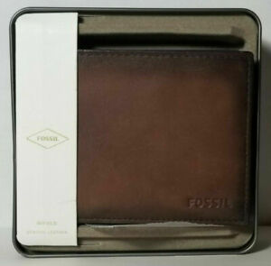Fossil Men's Lenhart Bifold Wallet, SML1450200 Leather Brown