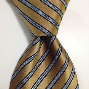 ERMENEGILDO ZEGNA Men's Silk Blend Necktie ITALY Designer STRIPED Gold/Blue GUC