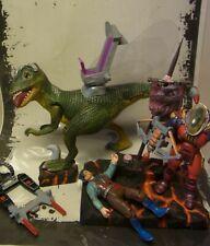 Costum Dino Riders Upcycled Yungstar VS Krulos with Deinonychus Diorama