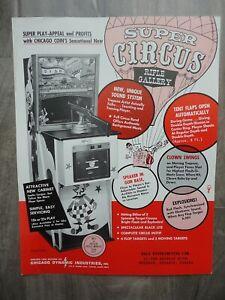 Super Circus Rifle Machine Flyer Chicago Coin Shooting Target Arcade Brochure