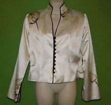 JS Collections blazer top 100% silk multi color long sleeve lined floral size 10