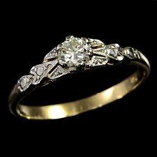 ART DECO Vintage 1930s Solid 18K Yellow Gold & Platinum Set 0.17ct Diamond Ring